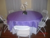 Round table with Purple linen
